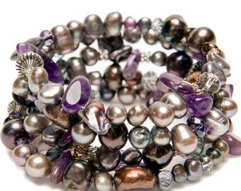 Genuine Pearl and Amethyst Memory Wire Bracelet