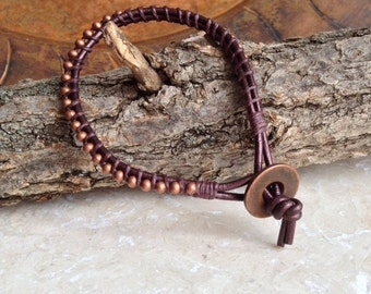 ball chain bracelet brown leather cord wrap waxed Irish linen copper handmade