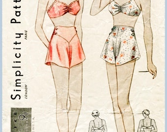 bust 32 34 36 38 40 vintage lingerie pattern 1930s 30s bra and tap shorts repro reproduction