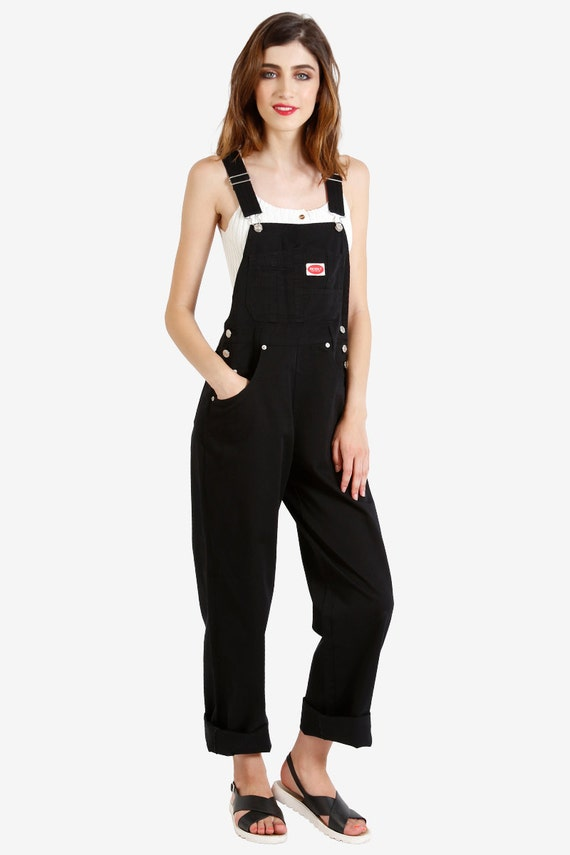 90s Deadstock Baggy Overall Pants Black