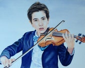 Custom Child Portrait, Custom Portrait Watercolor, Violin Painting, Musician Portrait, Painted by Hand, Made to order