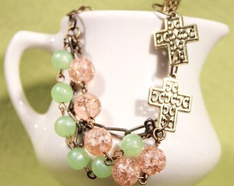 Pink and Green Beaded Pewter Cross Bracelet