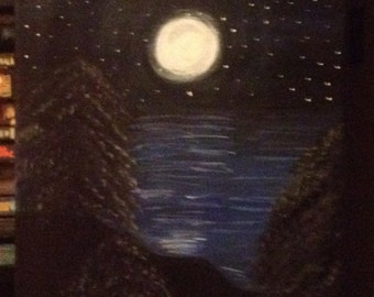 Mountain at Night 11x14 Hand-painted Acrylic Painting