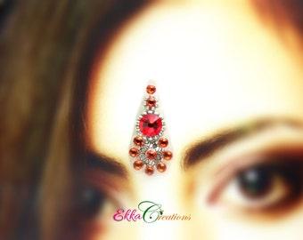 Bindi face jewels/Red and orange bindi/reusable bindi/face gems/Swarovski bindi/wedding bindi