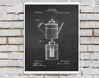 1800s era Coffee Percolator Design Patent print #1 Kitchen Art Decor, Chalkboard Patent art, Coffee wall art, Kitchen Wall Decor