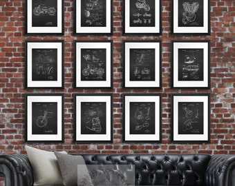 Gift for men, Harley Davidson Wall Decor Patent Posters set of 12, Harley Motorbike Decor. Motorcycle Decor, Gift for Biker