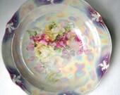 Vintage Antique Porcelain Lusterware Serving Bowl - Roses - Marked Germany 119