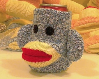 Sully the Blue Sock Monkey Beverage Holder by monSOCKeys, Handmade Red Heel Sock Monkey, Blue Monkey, Beverage Holder, Blue Can/Bottle cover