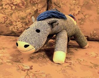 "Phinnaeus the Blue Sock Horse 18"" by monSOCKeys, Handmade Red Heel Sock Horse, Stuffed Horse, Sock Monkey Horse, Blue Horse, Toy, Novelty"