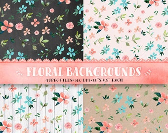 Floral backgrounds, floral digital paper, floral digital clipart, Watercolor flowers, floral Pattern, floral paper, rustic paper