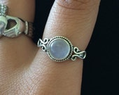 Rainbow Moonstone Ring, Sterling Silver Ring, Gypsy Ring, Statement Rings, Solid 925 Sterling Silver Rings Size 4 5 6 7 8 9 10 11 12 13 14