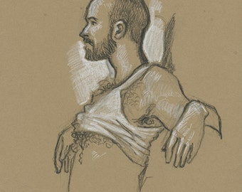 Hot Male in Tank Top Charcoal Drawing