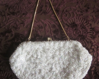 Vintage Beaded and Sequined White Purse