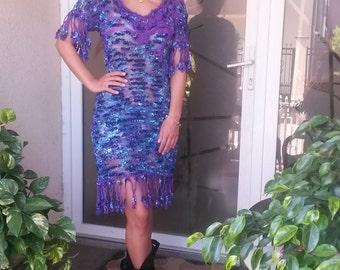 Women   Coctail Dress  /Handknitted dress with fringe/Purple-Blue-Turqoise Dress