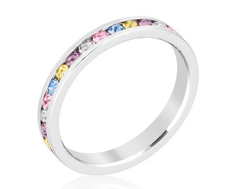 Stackable Multi Color Crystal Eternity Ring | Round Cut Assorted Swarovski Crystal Stackable Eternity Band in a Channel Setting