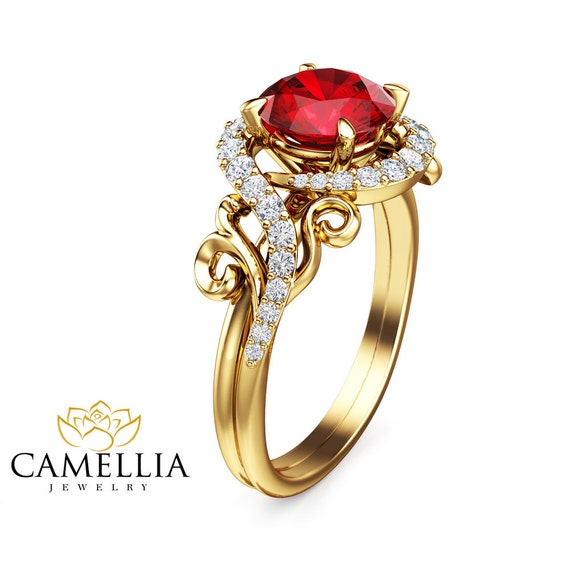 14K Yellow Gold Ruby Ring Unique Engagement Ring Ruby