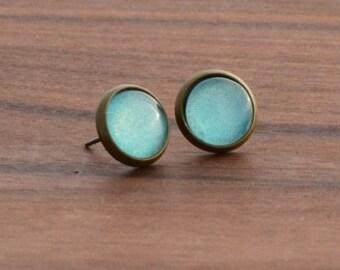 Earrings of ear studs sea green 8 mm, 10 mm or 12 mm