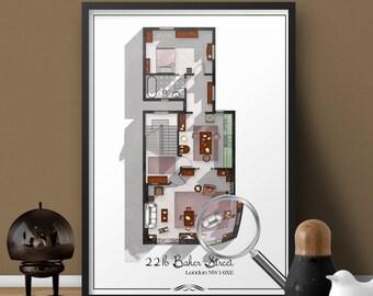 Sherlock Holmes 221b Baker Street London Floor Plan- Sherlock BBC Poster- Sherlock Print- Sherlock Holmes and John Watson Fandom