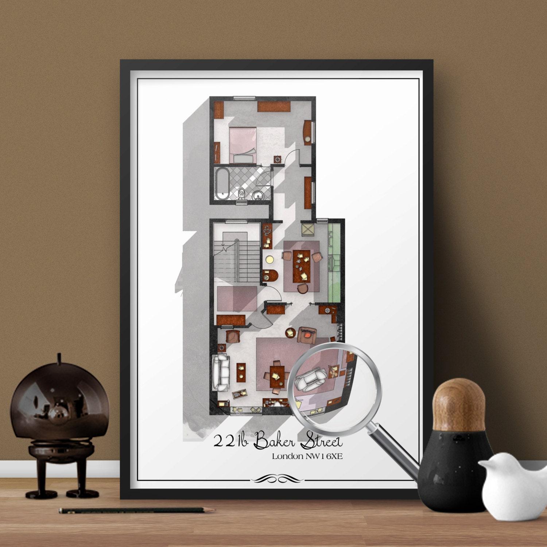 221b Baker Street Floor Plan Sherlock Holmes 221 B Baker Street 224 Londres Plan