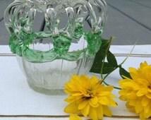 vintage blown glass crown bride's bank flower frog vase