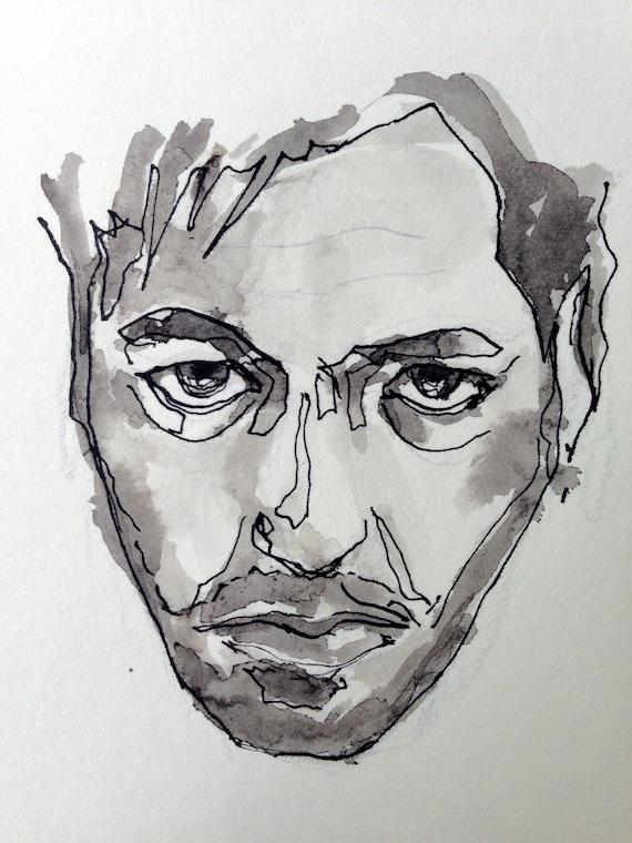 Portrait Dessin Noir Et Blanc Art Art Figuratif Portrait