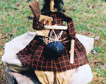 Primitive Folk Art Witch Doll Fall Halloween Pattern E-Pattern