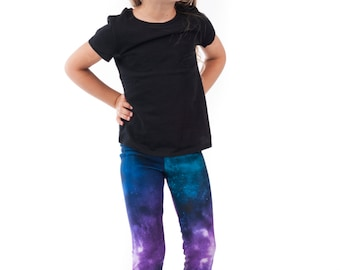 Galaxy Kids Leggings, Bright Printed Space Girls Tights