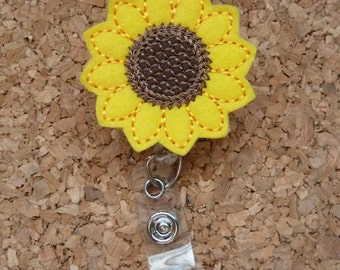Sunflower Badge Reel | Yellow Flower Badge Reel | Felt Badge Reel | Retractable Name Holder | Nurse / Teachers / Office Workers | 403