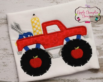 Back to School, Monster Truck with Pencil and Scissors, Appliqué, Machine Embroidery Design, Boy, Girl, Teacher, Student, 5x7, 6x10, 9x9