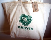 Market Tote Bag - Kapusta [Cabbage] in Russian - Cotton Tote - Reusable Grocery Bag - Book Bag - Beach Bag