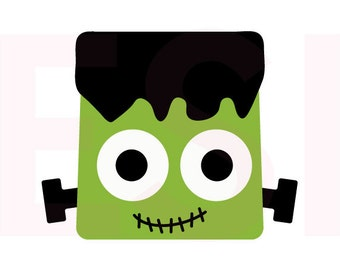 Frankenstein's Monster SVG, DXF, EPS, Halloween, cutting files, for use with Silhouette Studio and Cricut Design Space. Square heads,