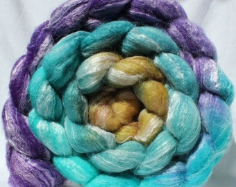 Hand dyed roving, purple / aqua / gold roving, superwash merino wool / bamboo / nylon, spinning fiber, spinning fibre, commercial top