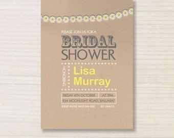 bridal shower invitation -  printable invitation - brown paper invite - daisy invitation