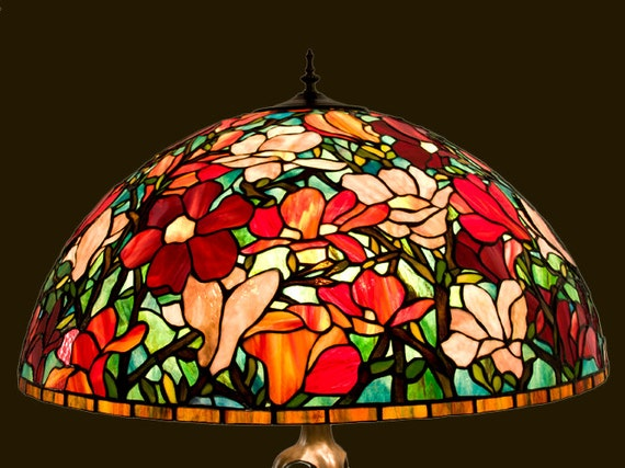 Stained glass Tiffany  Magnolia shade. Colorful Magnolia lampshade. Handmade stained glass