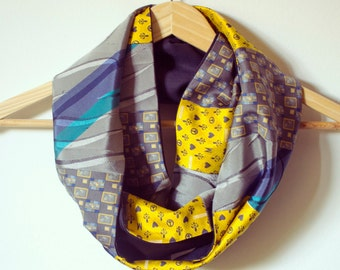 Upcycled Vintage Neckties Infinity Scarf yellow, grey and light blue.