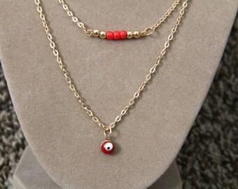 Evil Eye Necklace, Evil Eye Layered Necklace, Evil Eye Jewelry, Evil Eye, Layered Necklace, Mini Evil Eye Necklace, Minimal Necklace
