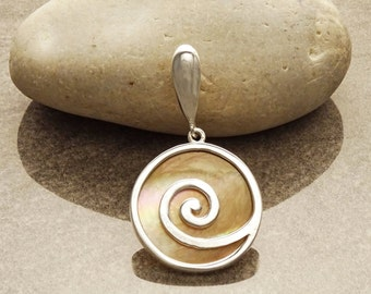 GENUINE Brown Paua Shell Spiral Pendant , Sterling Silver, Diamond Shape, Brown Pearl with Iridescent Rainbow Highlights, Geometric Round