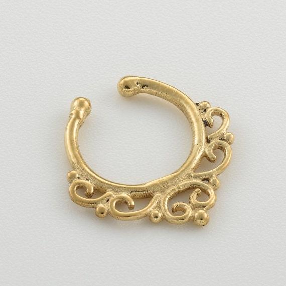 Fake Septum Ring. gold septum. fake septum jewelry. fake septum piercing. gold septum ring. tribal septum ring. faux septum. septum cuff.