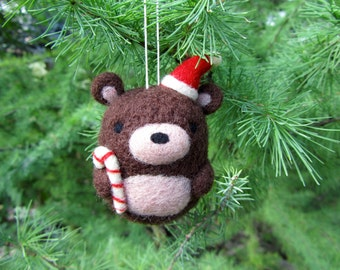 Needle Felted Bear Ornament, Christmas Ornament, Christmas Decoration, Holiday Ornament, Felt Ornament, Christmas Tree Decorations, Xmas