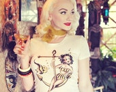 Anchors Aweigh Tshirt size S, M, L,XL,2XL,3XL in Heather beige Rockabilly Pinup girl by Mischief Made