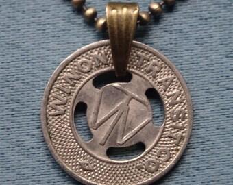 Winona (MN) Transit Token Pendant Necklace