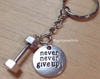 Never Never give up fitness jewelry dumbbell necklace dumbbell keyring keychain weight lifting necklace gym jewelry