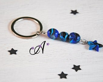 door-key star three black gray turquoise blue whirl fimo polymer clay beads