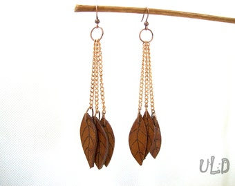 Unique Leather Anniversary Gift for Her, Leaf Leather Earrings with Pyrographic details
