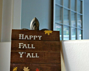 "Reclaimed Rustic Wood Happy Fall Y'all Sign 10""x12"" // Fall Decor // Thanksgiving Decor"