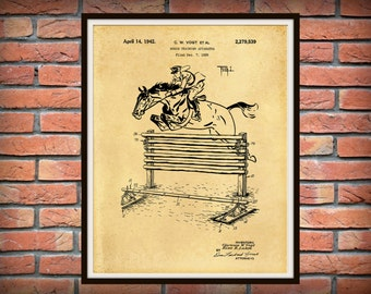 Patent 1939 Horse Training Apparatus - Art Print - Poster - Equestrian Wall Art - Equus -  Horse Show Jumping -