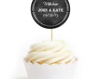 12 Chalkboard Style Wedding Cupcake Toppers. Printed on Card Stock.