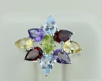 Size 4.5 PERIDOT CITRINE AQUAMARINE (Nickel Free) 925 Fine S0LID Sterling Silver Ring & Free Worldwide Express Shipping r1234