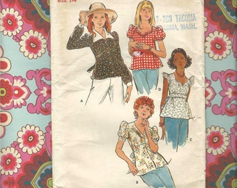 Butterick 3607 Misses Top/ Blouse Pattern 1970's Complete