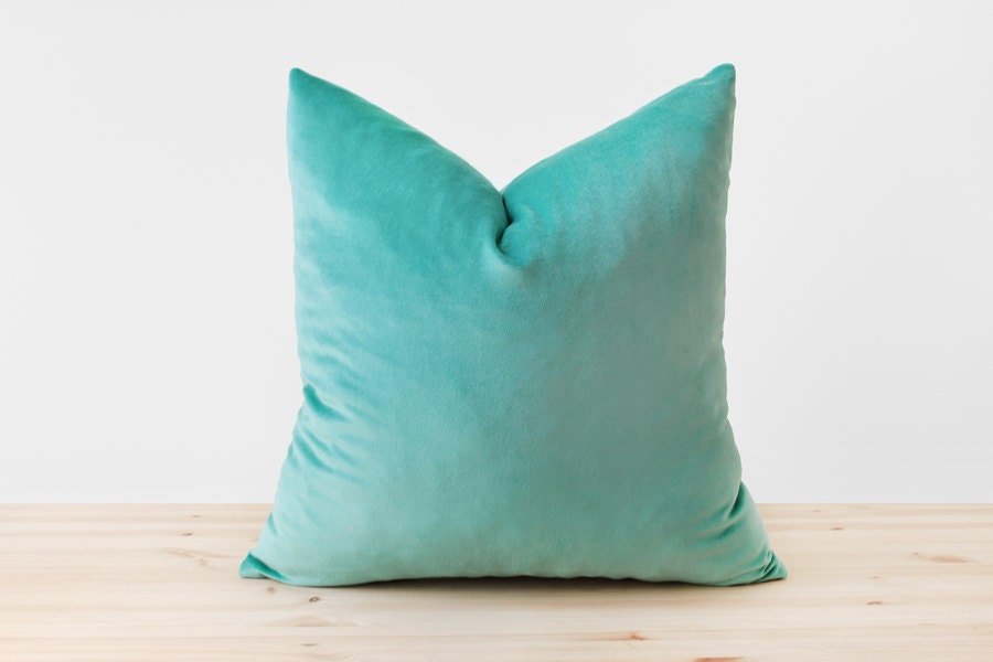 Turquoise Velvet Pillow Cover Turquoise Throw Pillow by Esnelle